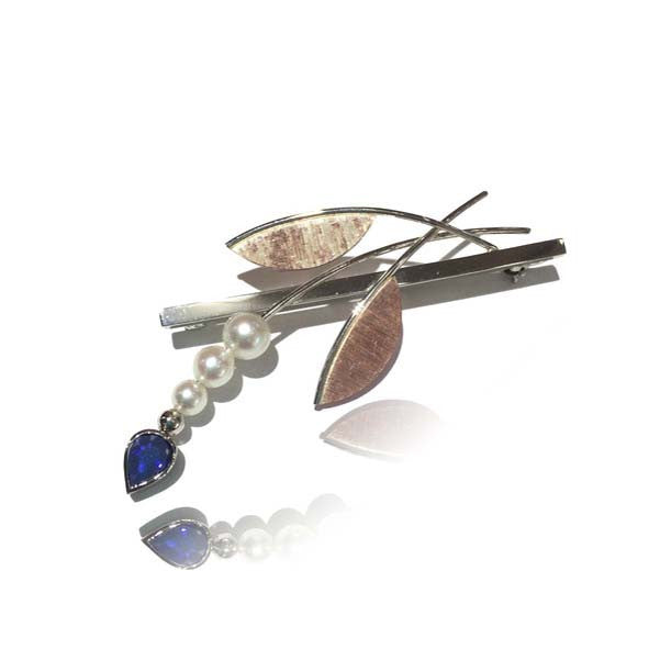 Two Tone Pearl and Sapphire Brooch