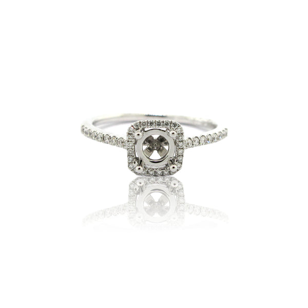 14k White Gold Petite Cushion Halo Ring