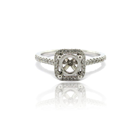 14k White Gold Diamond Cushion Halo Ring