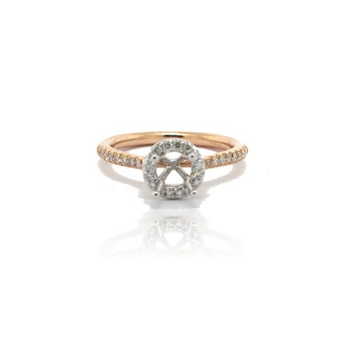14k Rose Gold Shank Diamond Halo Ring