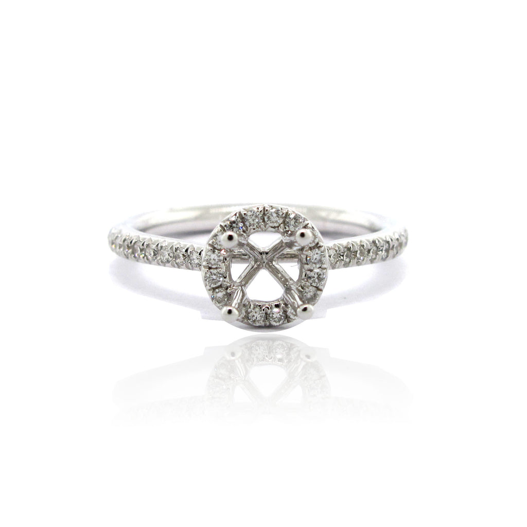 14k White Gold Petite Halo Ring with Side Diamonds