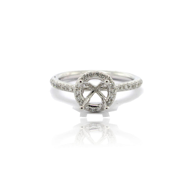 14k White Gold Halo Ring with Side Diamonds