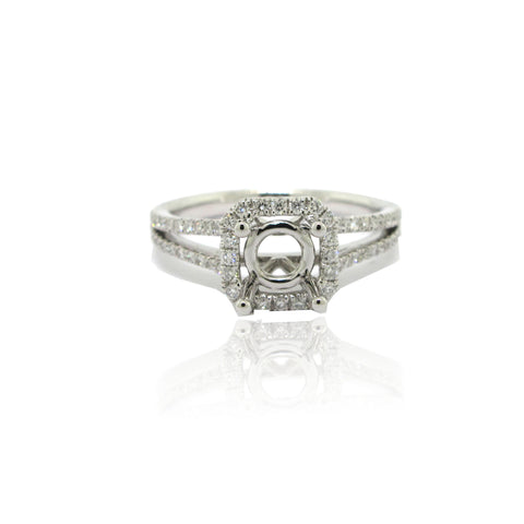 14k White Gold Split Shank Diamond Halo Ring