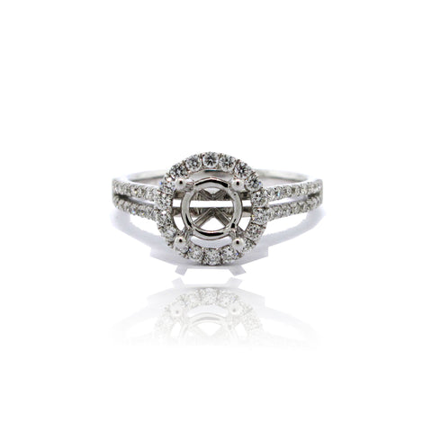 14k White Gold Halo Ring with Side Stones and Split Shank