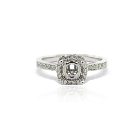 14k White Gold Diamond Halo Ring
