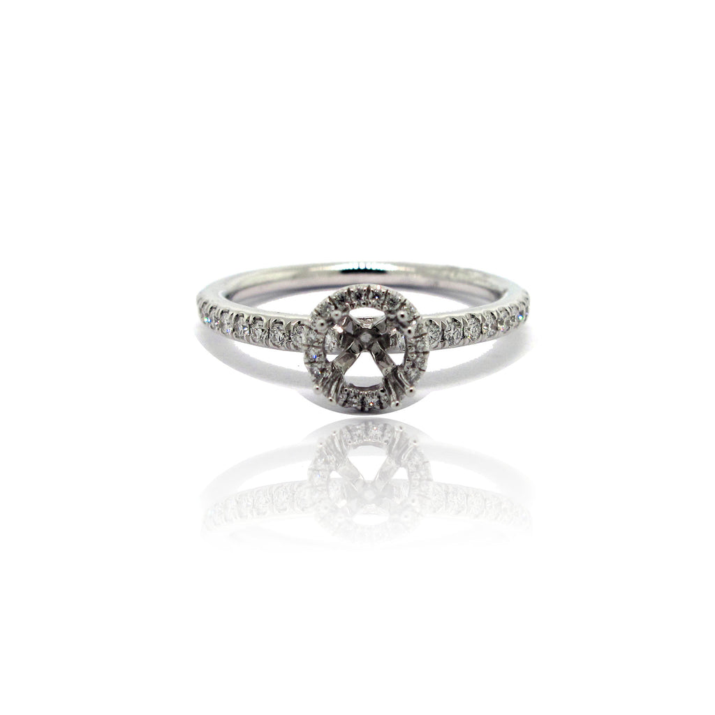 14k White Gold Petite Diamond Halo Ring