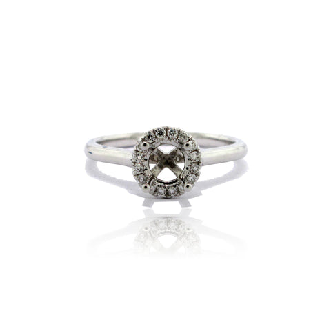 14k White Gold Round Halo Ring