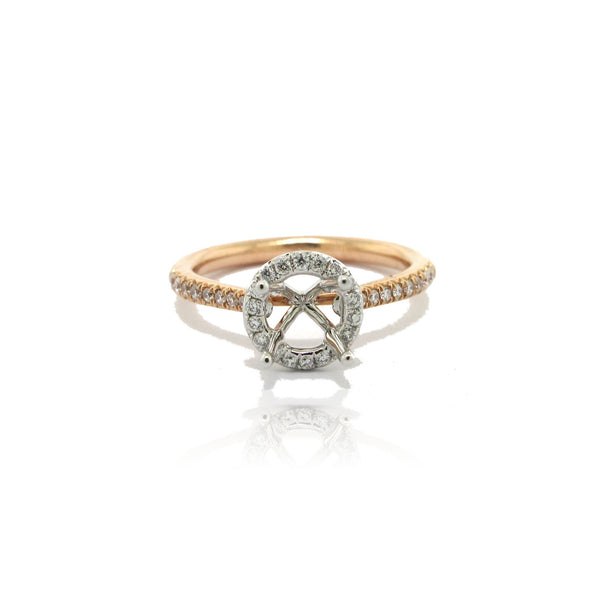 14k White and Rose Gold Halo Ring with Side Diamonds