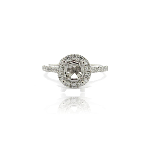 14k White Gold Round Halo Ring with Side Diamonds