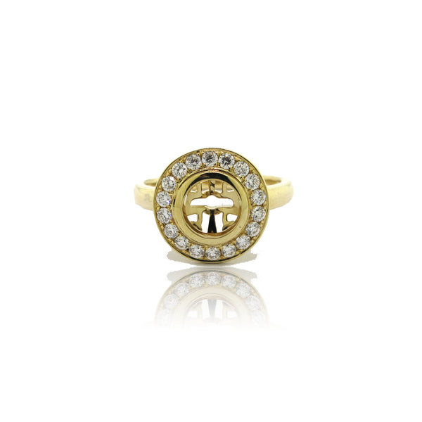 14k Yellow Gold Halo Ring