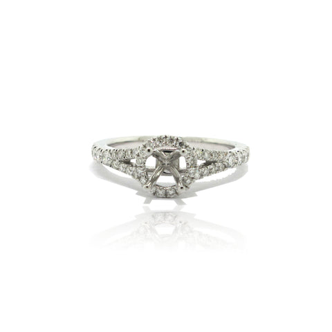 14k White Gold Split Shank Halo Ring