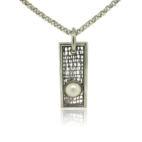 Sterling Silver Weave and Mabe Pearl Pendant
