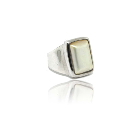 Sterling Silver Square Mabe Pearl Ring