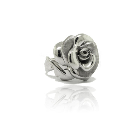 Sterling Silver and Rhodium Rose Ring