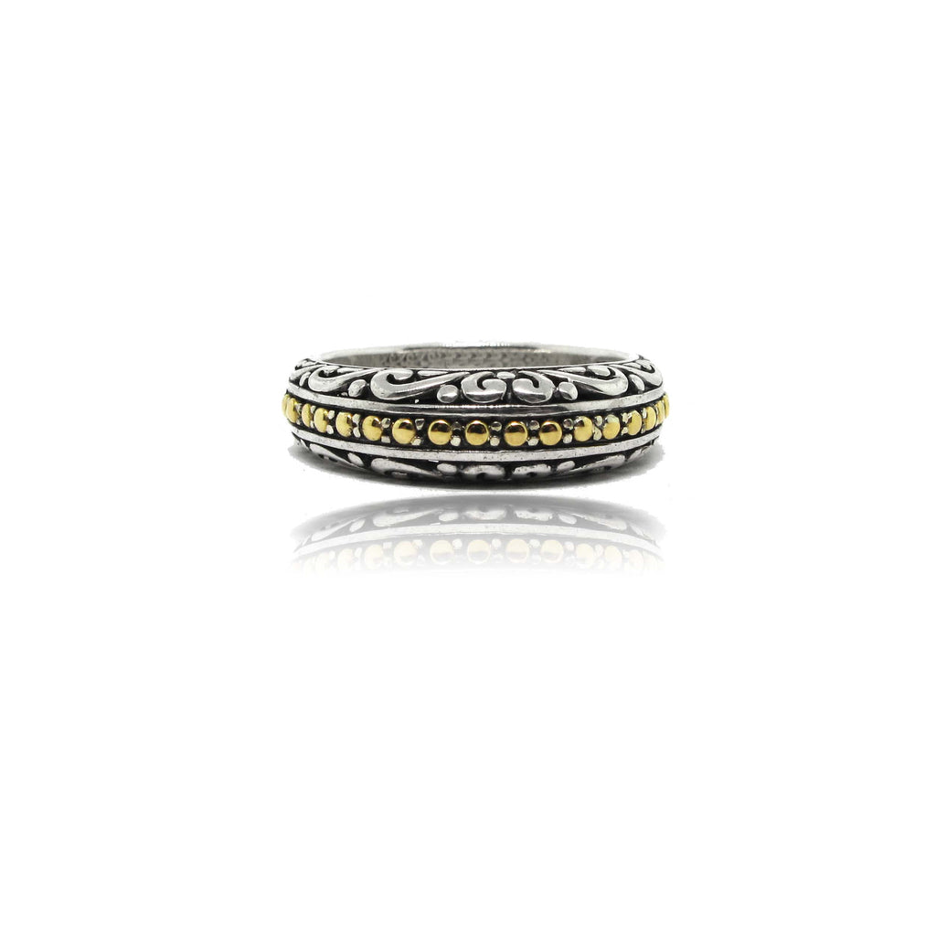 Sterling Silver and 18k Yellow Gold Filigree Ring