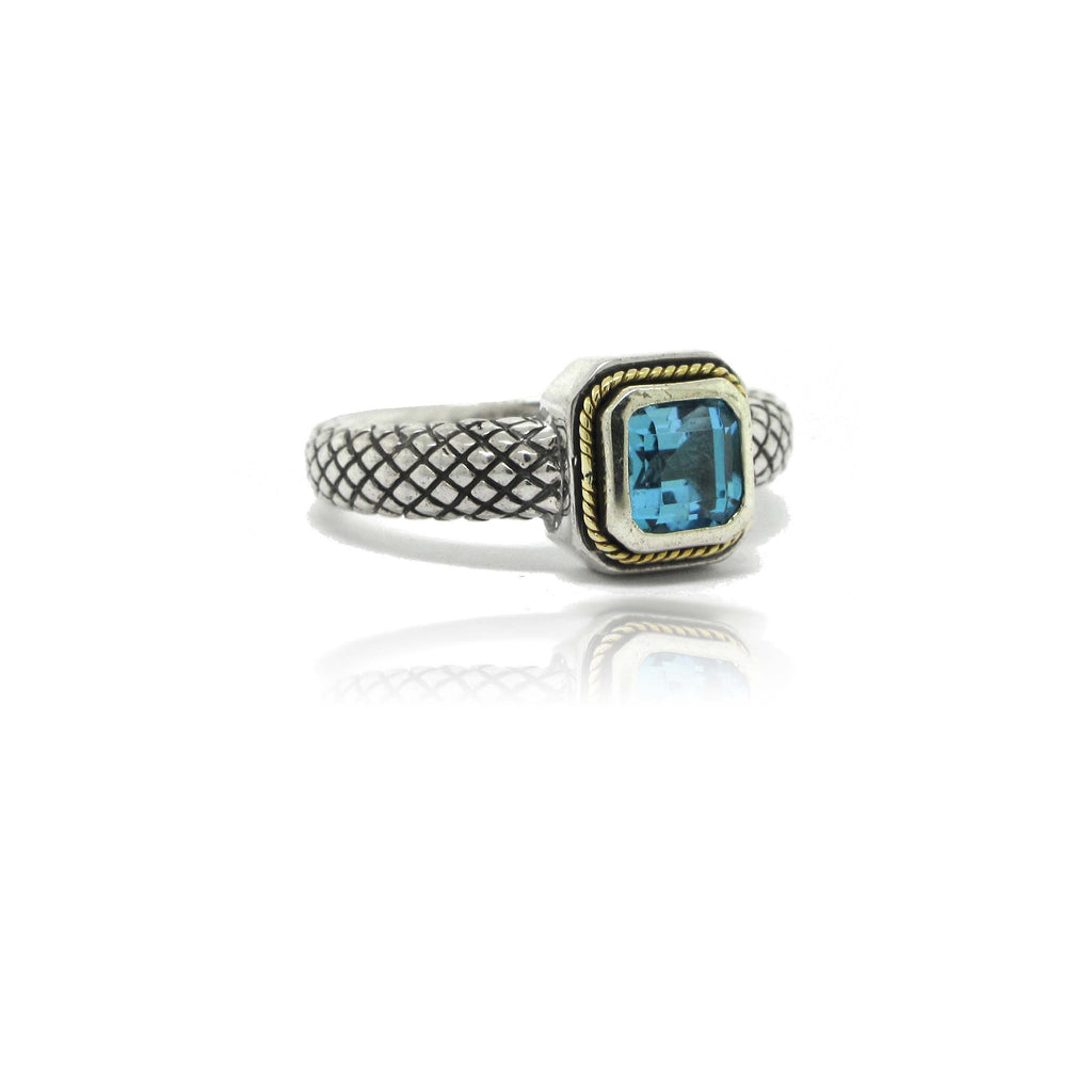 Sterling Silver and 18k Yellow Gold Topaz Ring