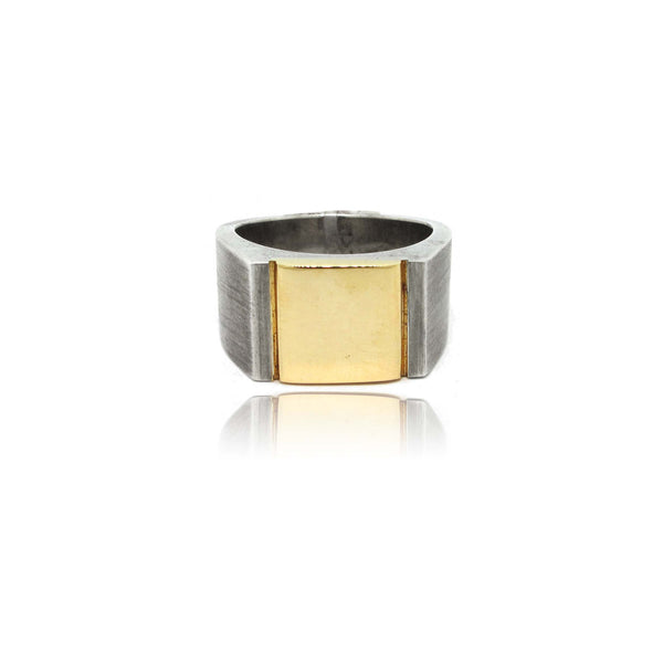 Sterling Silver and 10k Yellow Gold Signet Ring