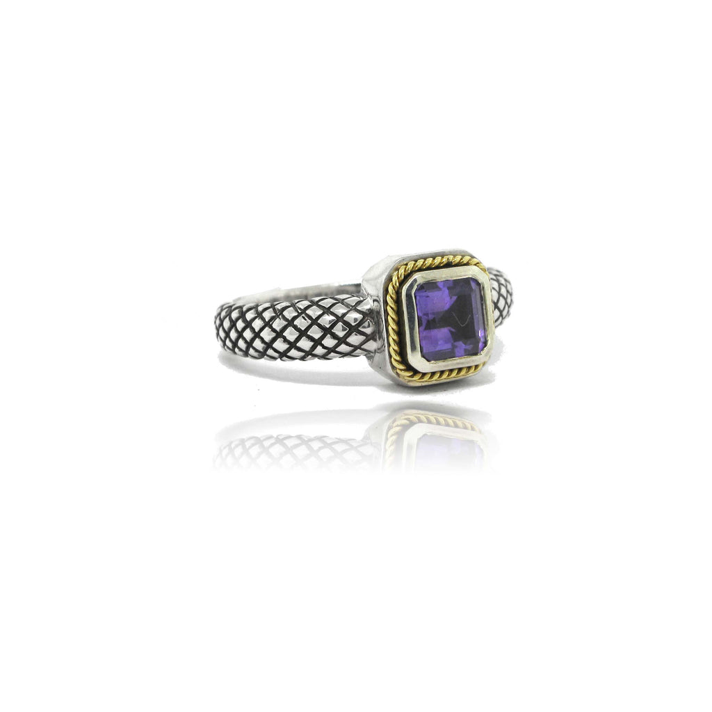 Sterling Silver and 18k Yellow Gold Amethyst Ring