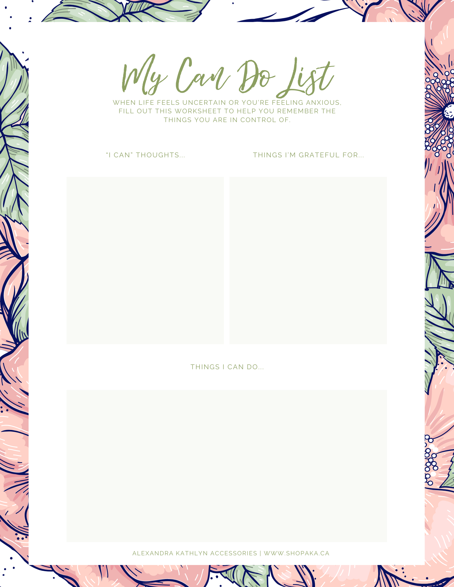Alex Kathlyn Accessories Can Do List Worksheet
