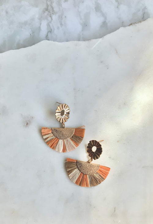 RAFFIA Statement Earrings - Peach-Earrings-Alexandra Kathlyn Accessories