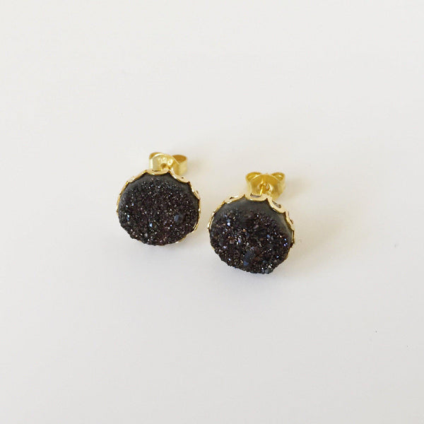 Druzy Lace Earrings - Black - Alexandra Kathlyn Accessories - 1