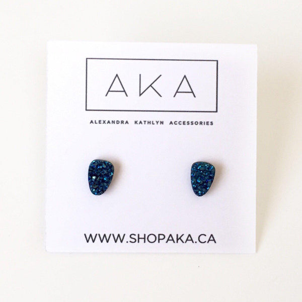 Mini Blue Druzy Earrings - Alexandra Kathlyn Accessories - 3