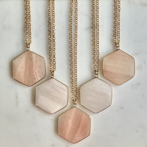 Pink Aventurine Hex Necklace-Necklace-Alexandra Kathlyn Accessories