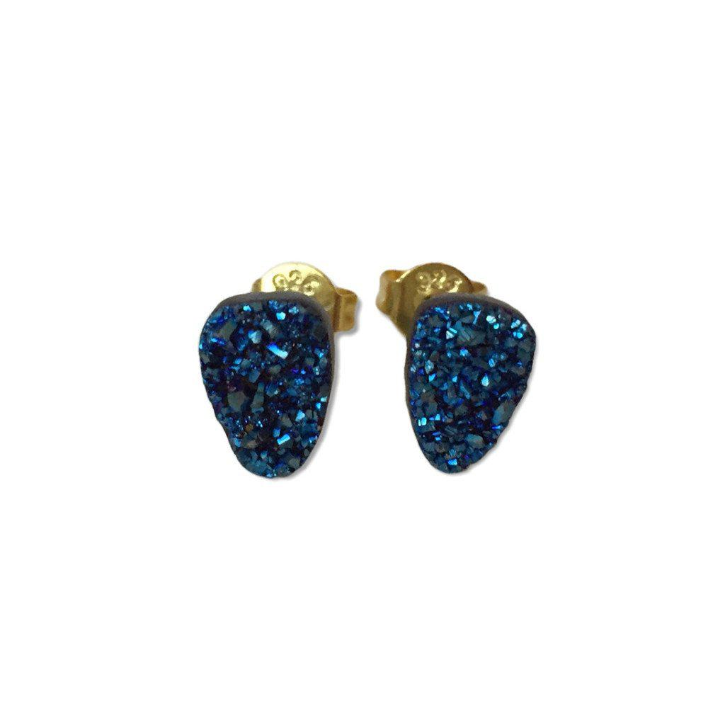 Mini Blue Druzy Earrings - Alexandra Kathlyn Accessories - 1