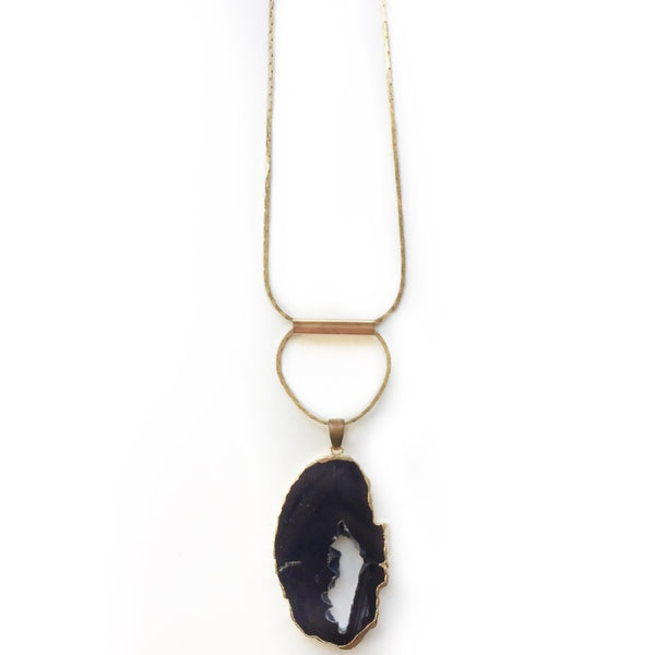 Agate Slice Brass Bar Necklace - Oval