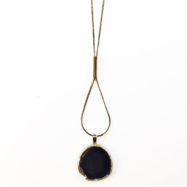 Agate Slice Brass Bar Necklace - Round