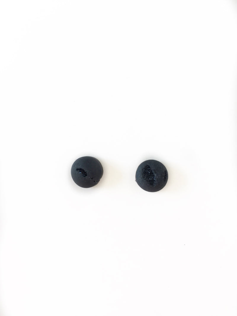 Dome Druzy Studs - Black - Alexandra Kathlyn Accessories
