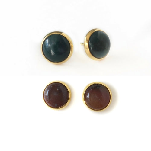 Indian Agate Studs - Gold Setting