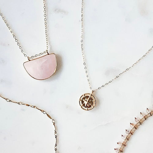 The Arc Necklace - Rose Quartz