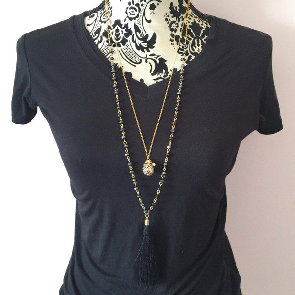 Black Tassel Necklace - Alexandra Kathlyn Accessories  - 2