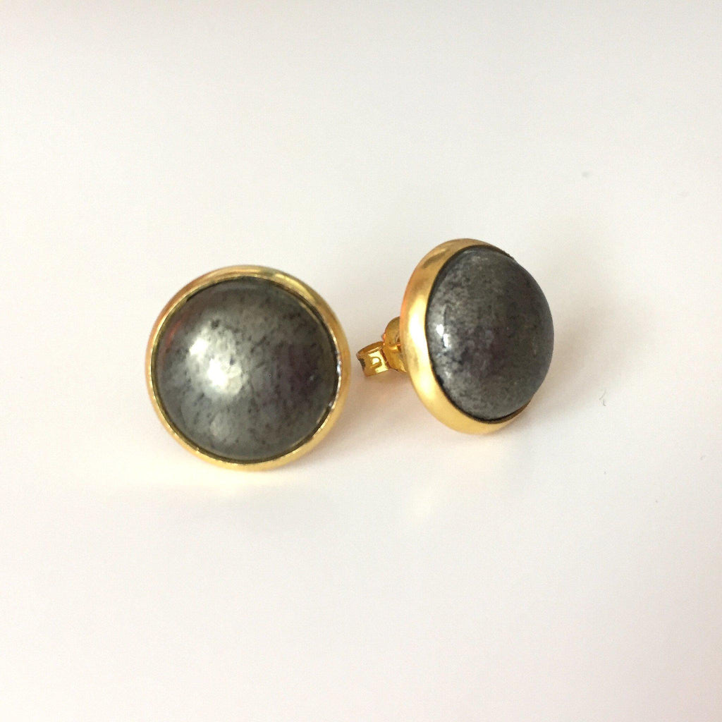 Pyrite Studs - Large - Alexandra Kathlyn Accessories - 2