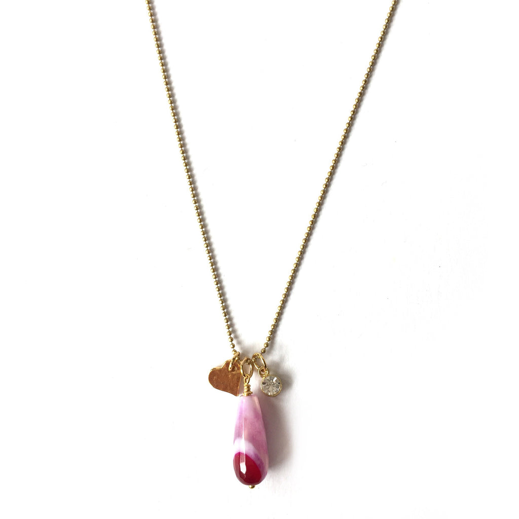 Pink Agate Charm Necklace