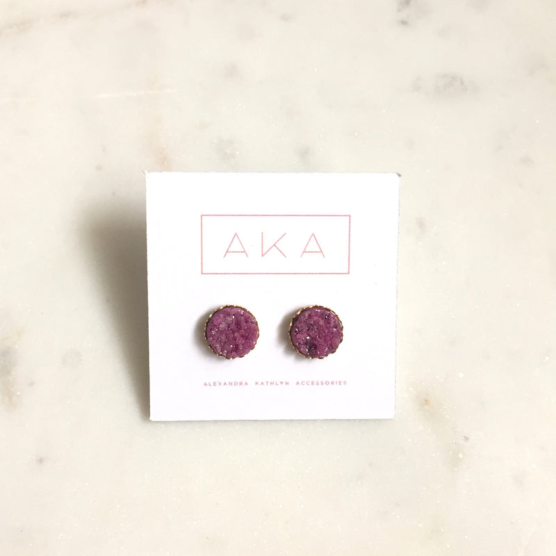 Druzy Lace Earrings - Orchid - Alexandra Kathlyn Accessories