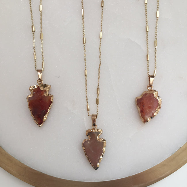 [One of a Kind] Gemstone Arrowhead Necklace