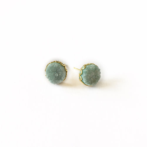 Druzy Lace Earrings - Green - Alexandra Kathlyn Accessories