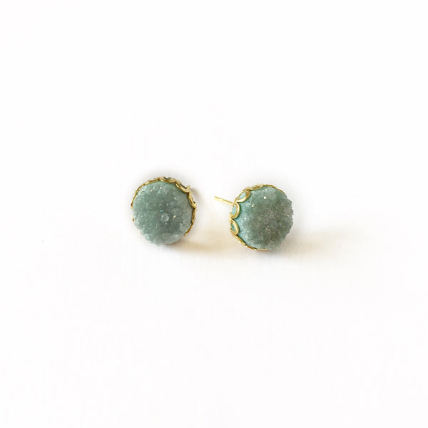 Druzy Lace Earrings - Green