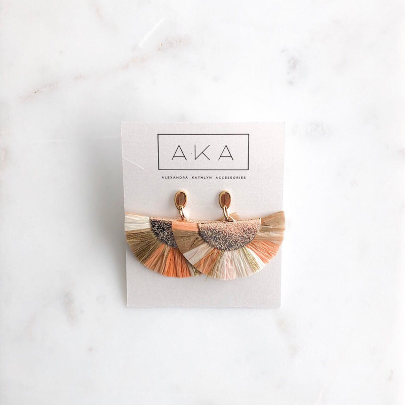 RAFFIA Earrings - Peach - Alexandra Kathlyn Accessories