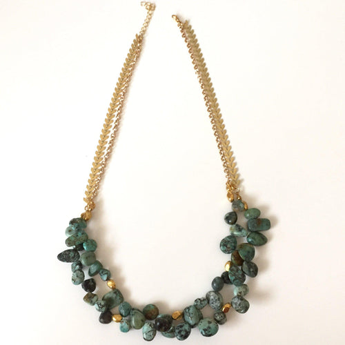 African Turquoise Statement Necklace - Alexandra Kathlyn Accessories - 1