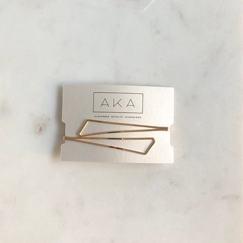 Gold Asymmetric Hair Pin - Alexandra Kathlyn Accessories