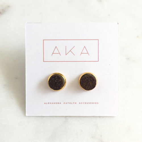 Small Druzy Studs - Dark Purple - Alexandra Kathlyn Accessories