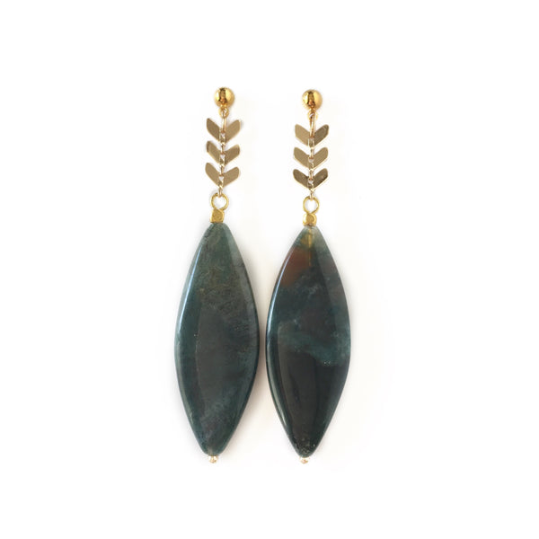 Indian Agate Chevron Drop Earrings