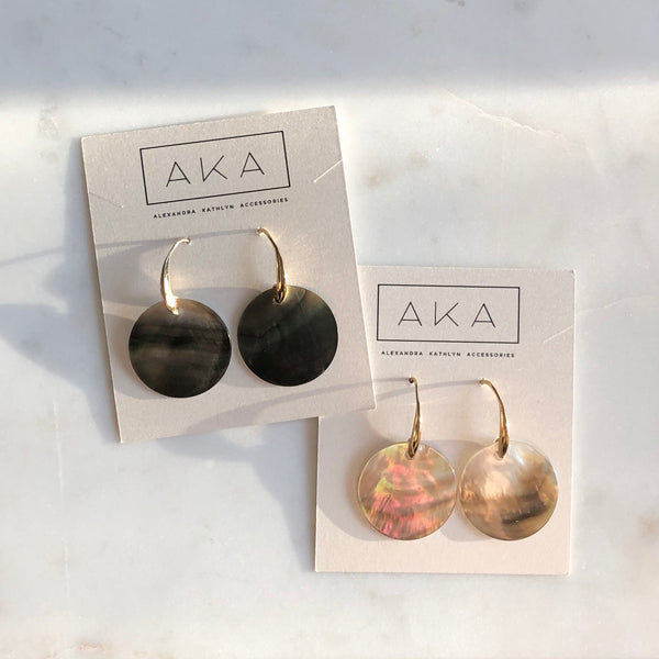 Black Shell Dangle Earrings