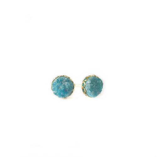 Druzy Lace Earrings - Aqua