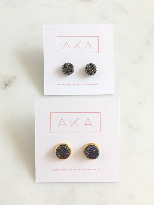 Small Druzy Studs - Rainbow - Alexandra Kathlyn Accessories