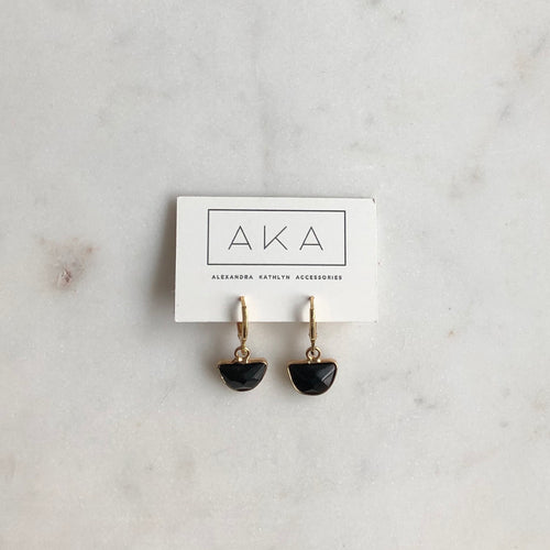 Gem Huggie Earrings - Onyx - Alexandra Kathlyn Accessories