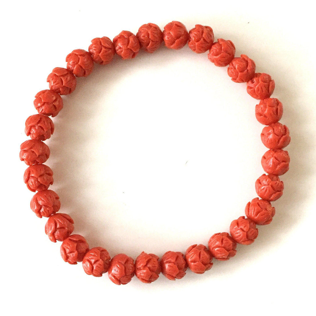Coral Lotus Flower Bracelet - Tomato - Alexandra Kathlyn Accessories - 1